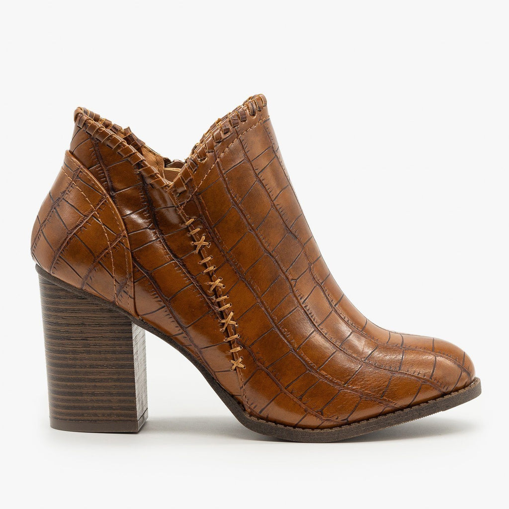 Womens Crocodile Stitched Accent Booties - Mata - Tan Crocodile / 5