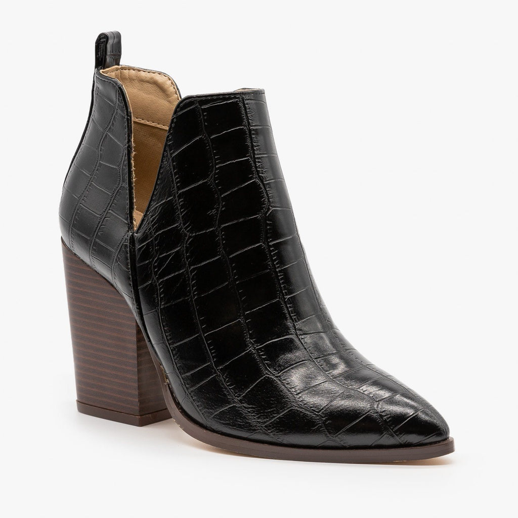 Womens Crocodile V-Cut High Heel Booties - Mata - Black Crocodile / 5