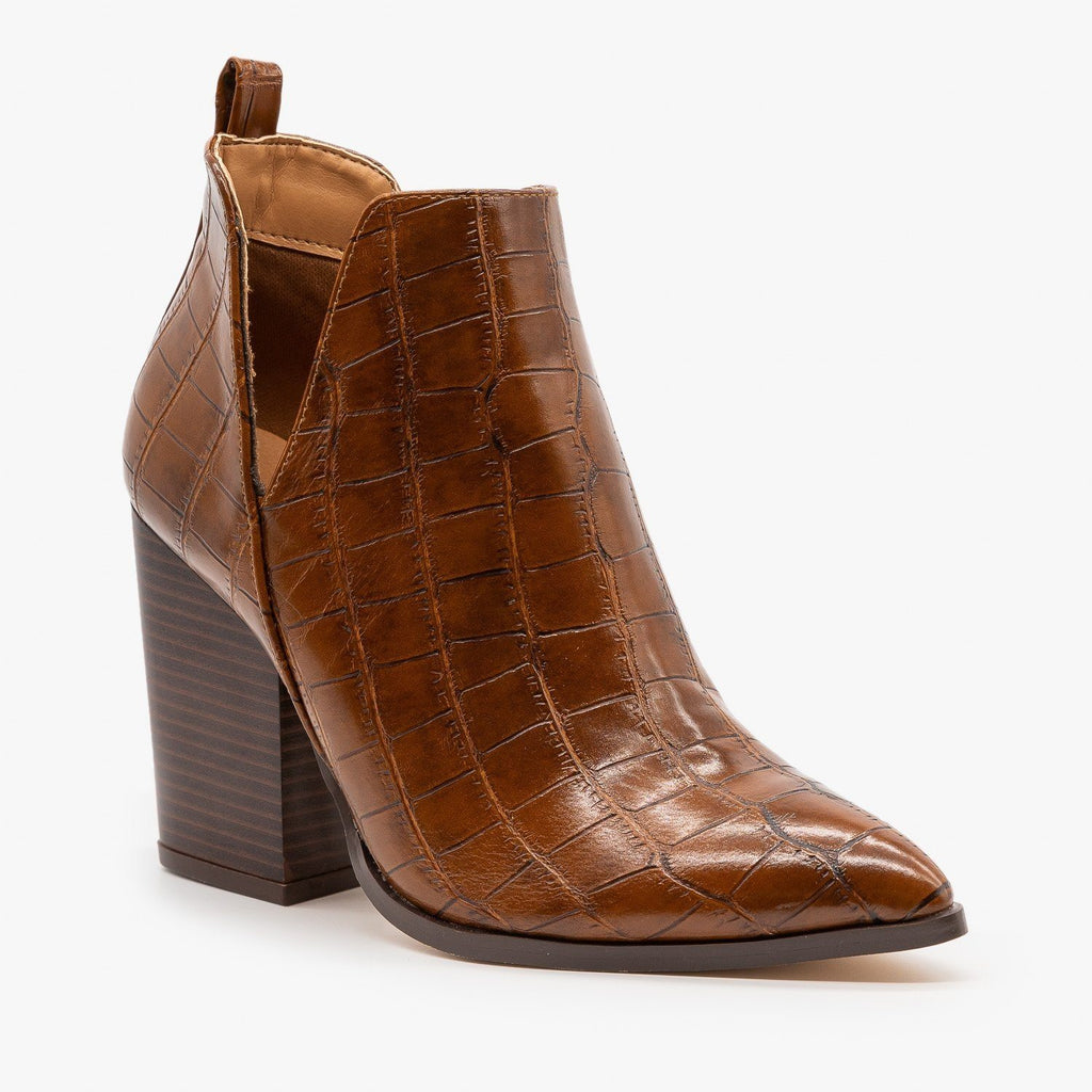 Womens Crocodile V-Cut High Heel Booties - Mata - Tan Crocodile / 5