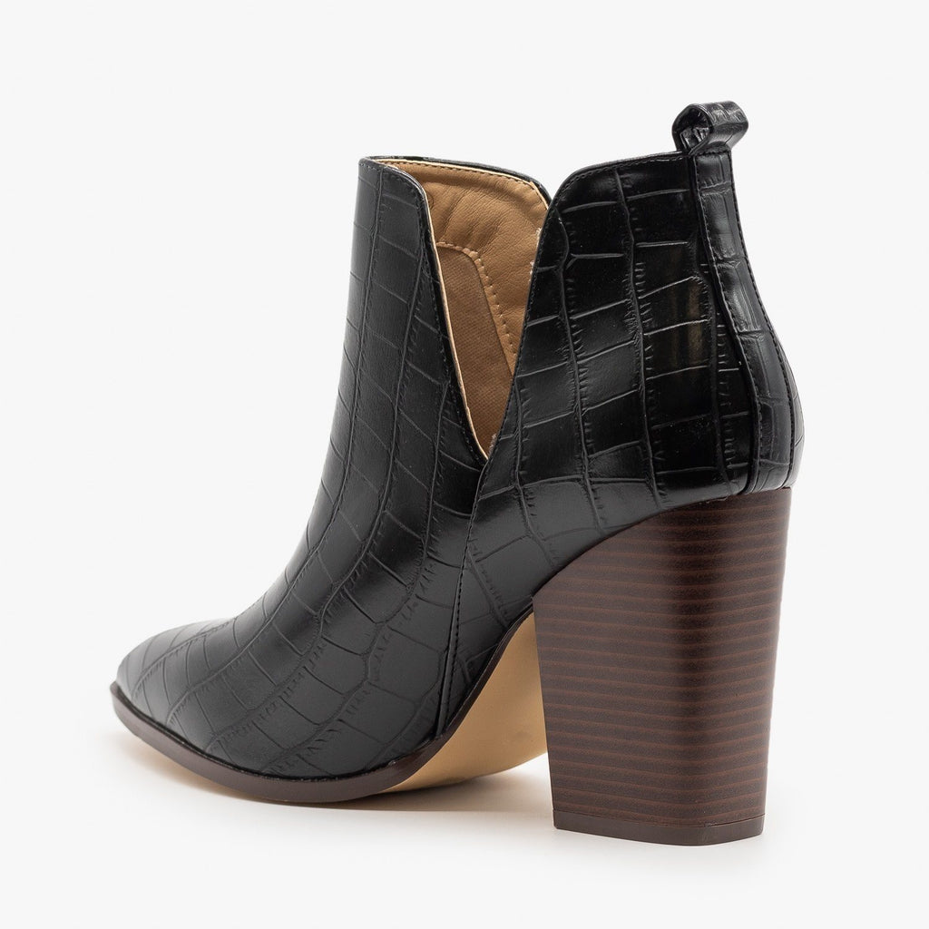 Womens Crocodile V-Cut High Heel Booties - Mata