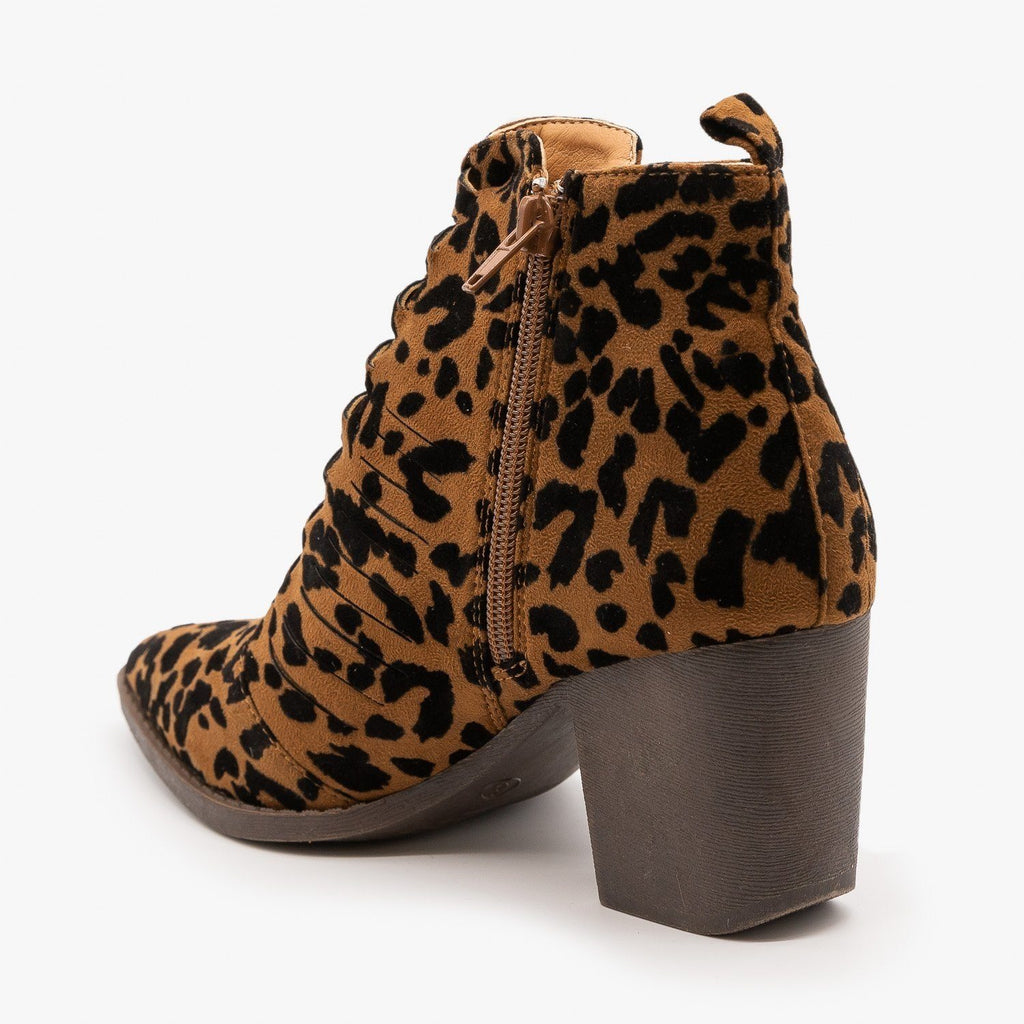 Womens Animal Print Woven Front Booties - Mata