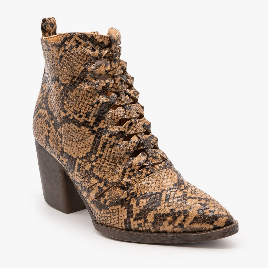 Womens Animal Print Woven Front Booties - Mata - Brown Snake / 5
