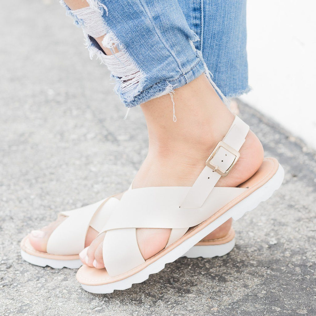 Womens Cross-Strap Slingback Sandal - Qupid Shoes - Nude / 5