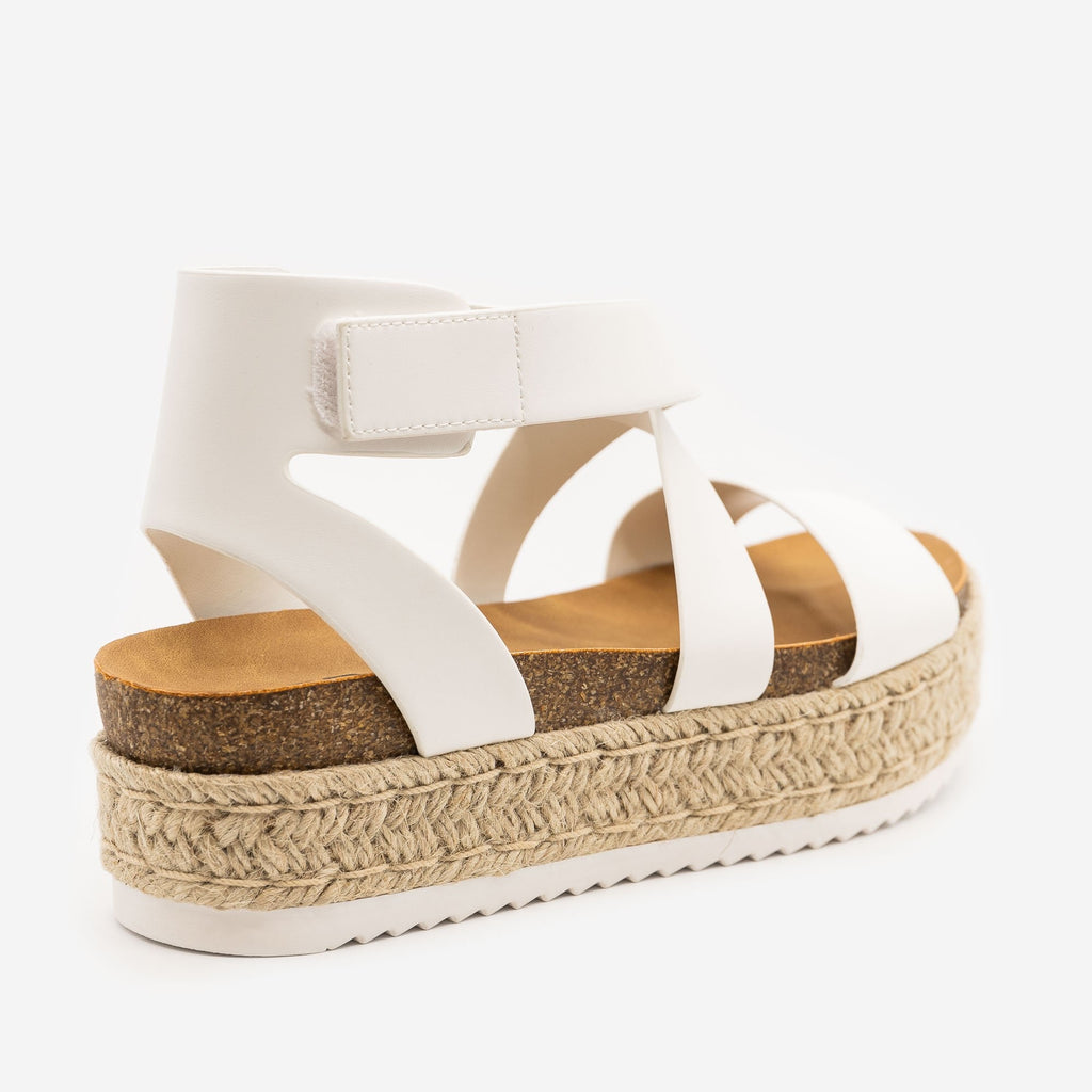 Women's Cross Strap Velcro Espadrille Sandals - Soda Shoes