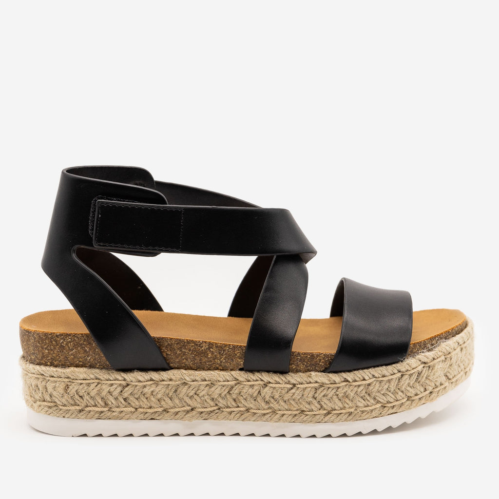 Women's Cross Strap Velcro Espadrille Sandals - Soda Shoes - Black / 5