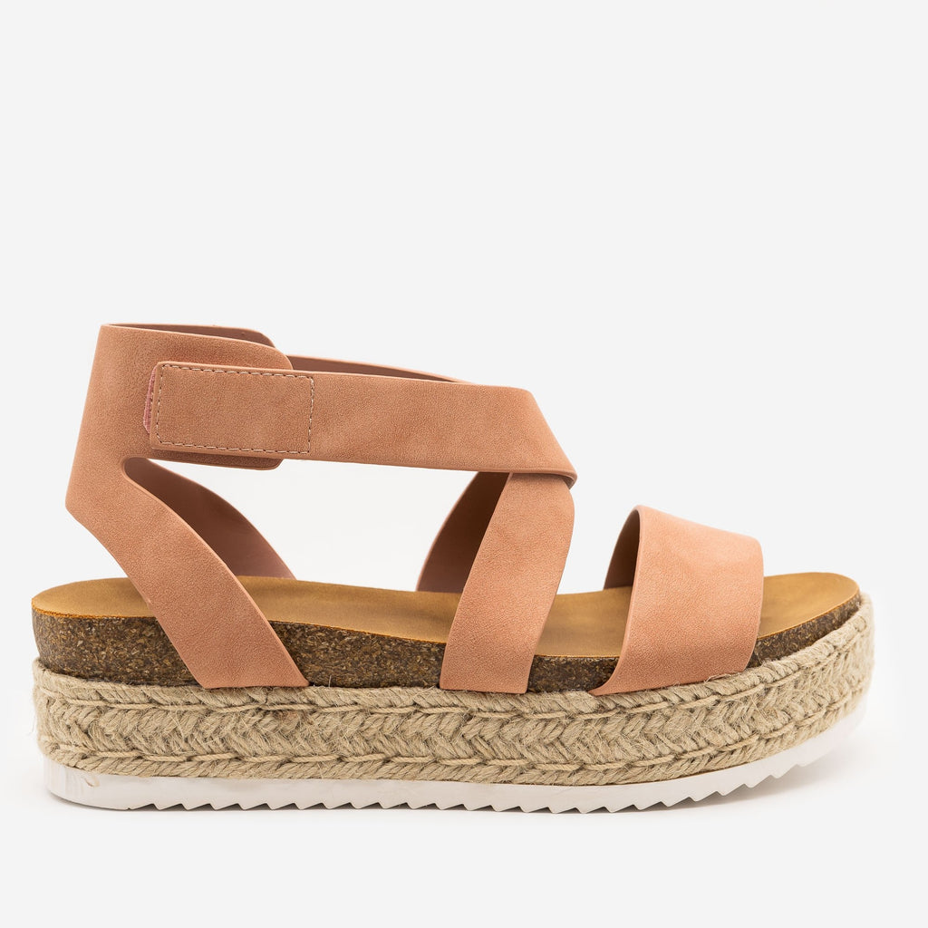 Women's Cross Strap Velcro Espadrille Sandals - Soda Shoes - Rose Nude / 5