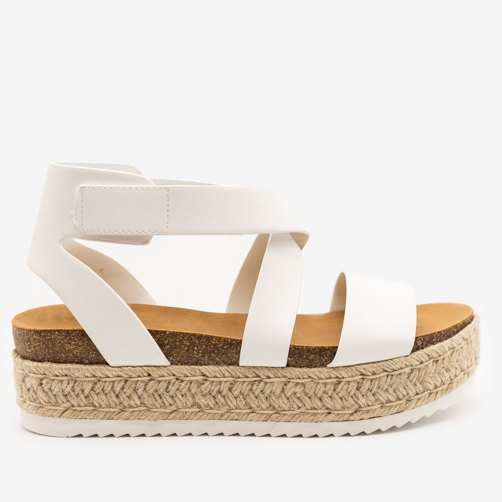 Women's Cross Strap Velcro Espadrille Sandals - Soda Shoes - White / 5