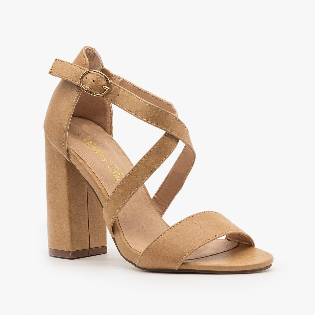 Womens Crossed Strap Open Toe Heels - Fashion Focus - Natural / 5