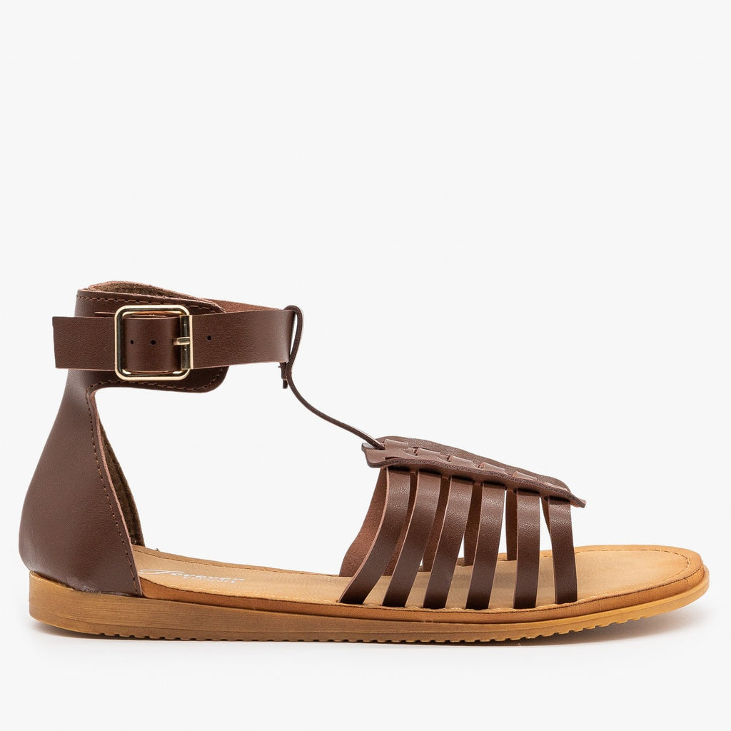 Womens Cuffed Ankle Woven Sandals - Forever - Brown / 5