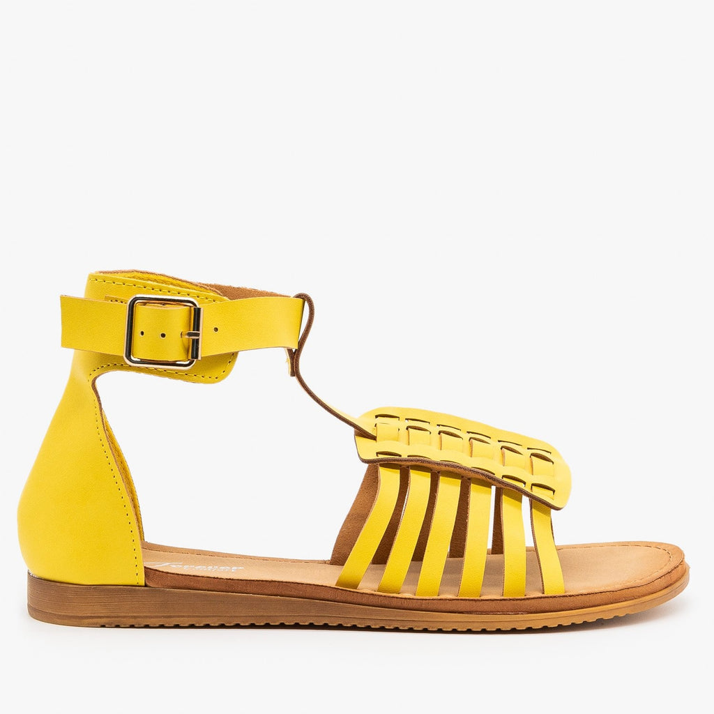 Womens Cuffed Ankle Woven Sandals - Forever - Mustard / 5