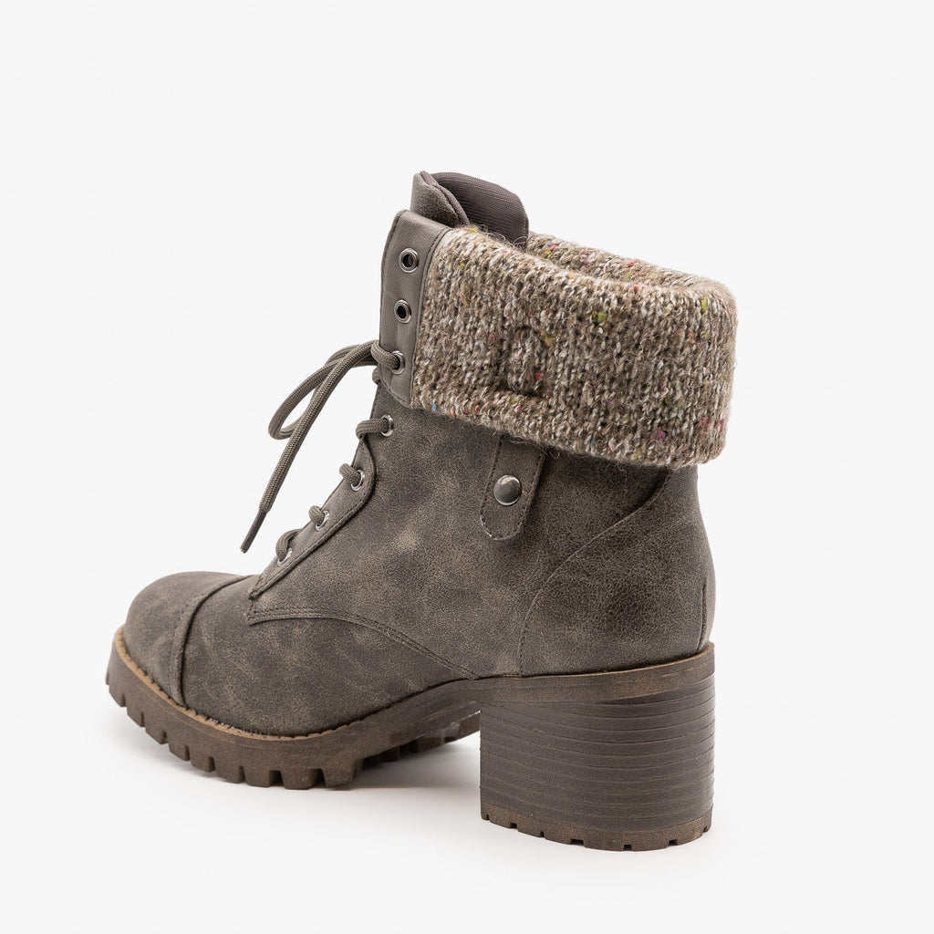 Womens Cuffed Combat Booties - Bamboo Shoes