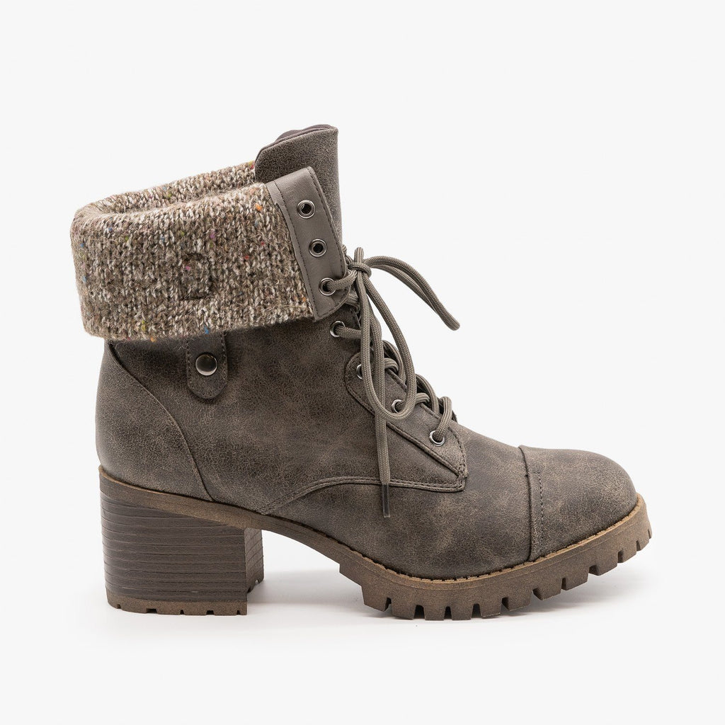 Womens Cuffed Combat Booties - Bamboo Shoes - Grey / 5