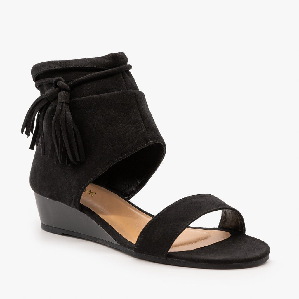 Womens Cuffed Side Tassel Sandals - Bamboo Shoes - Black / 5