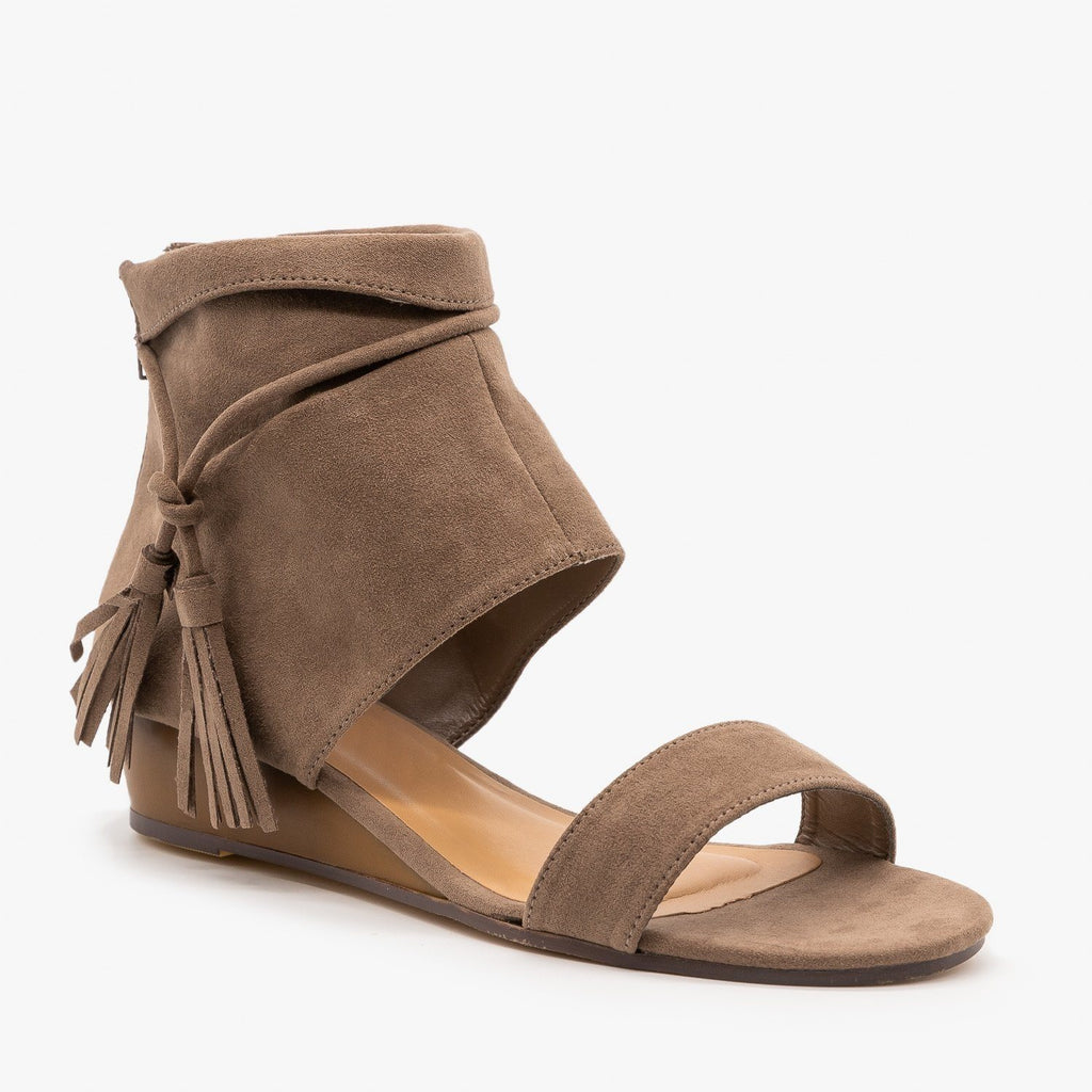 Womens Cuffed Side Tassel Sandals - Bamboo Shoes - Taupe / 5