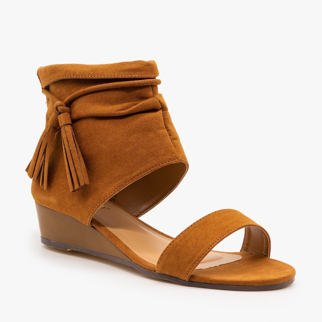 Womens Cuffed Side Tassel Sandals - Bamboo Shoes - Chestnut / 5