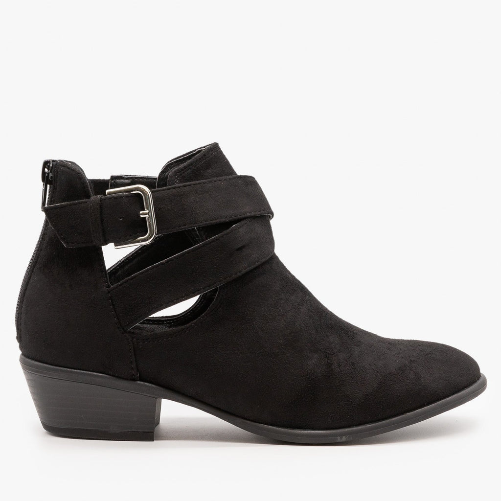 Womens Cut Out Belted Ankle Booties - Wild Diva Shoes - Black / 5