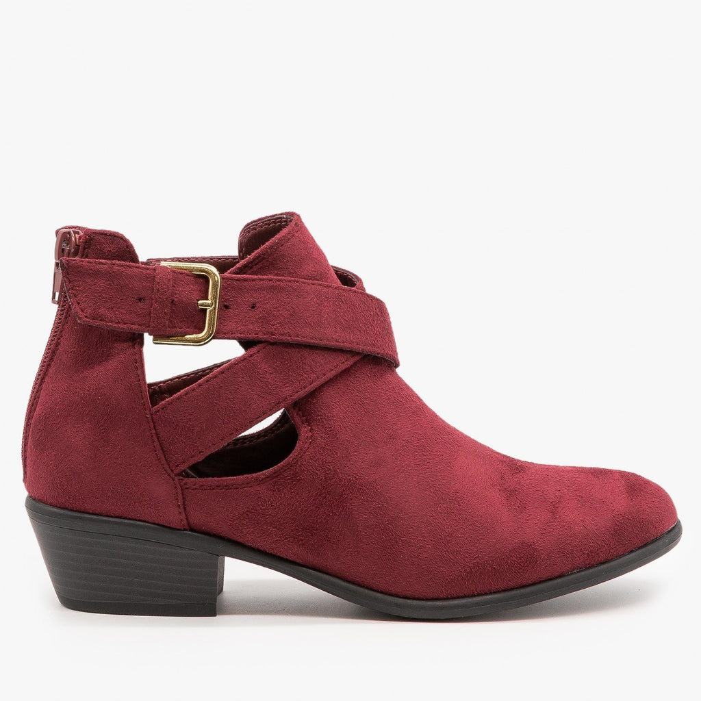 Womens Cut Out Belted Ankle Booties - Wild Diva Shoes - Burgundy / 5