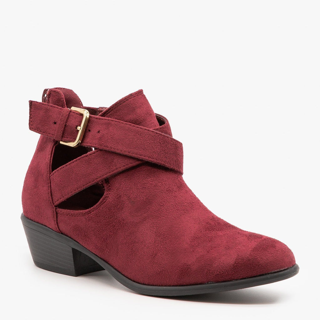 Womens Cut Out Belted Ankle Booties - Wild Diva Shoes