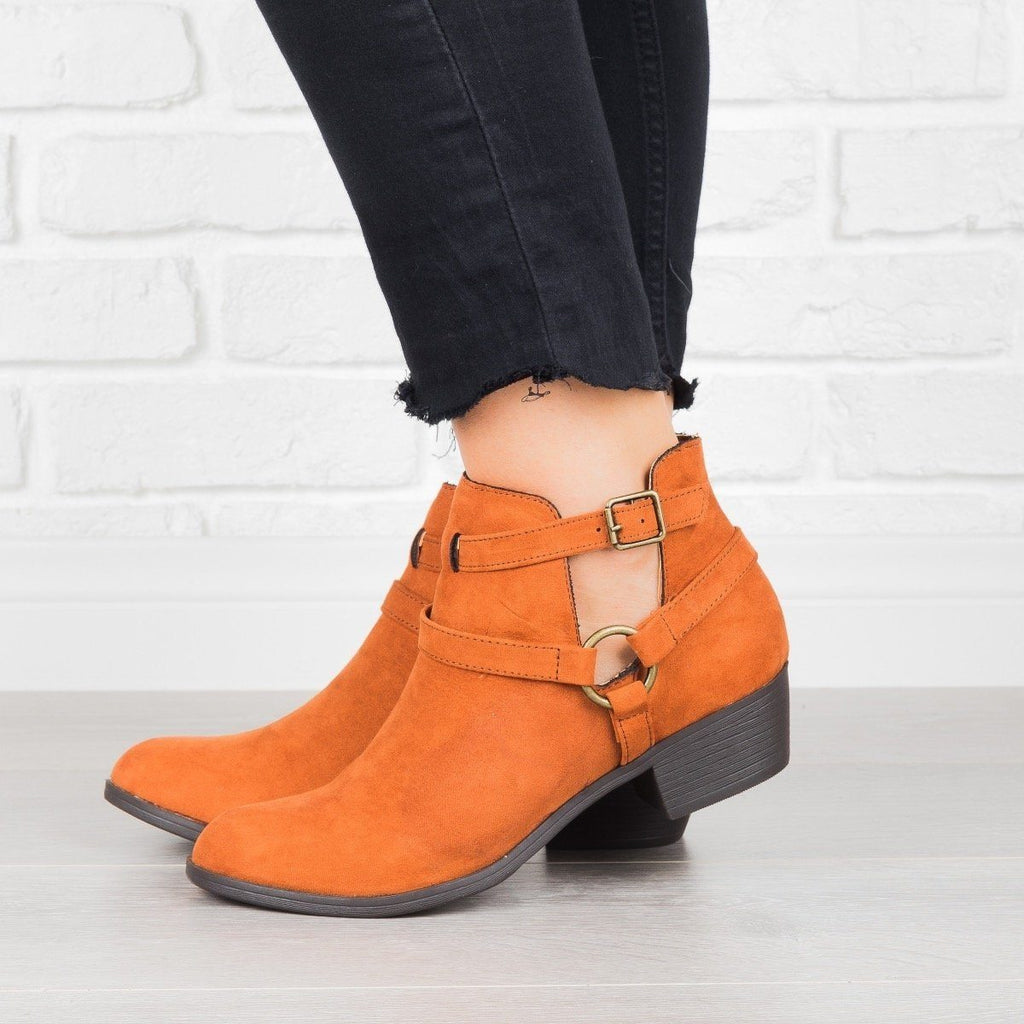 Womens Cut-Out Buckled Booties - Shoelala - Camel / 7.5