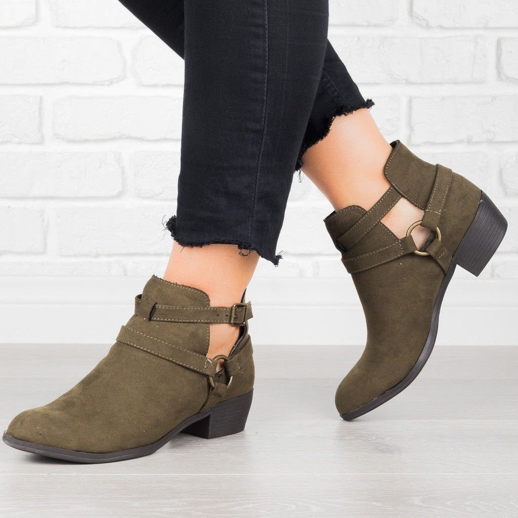 Womens Cut-Out Buckled Booties - Shoelala