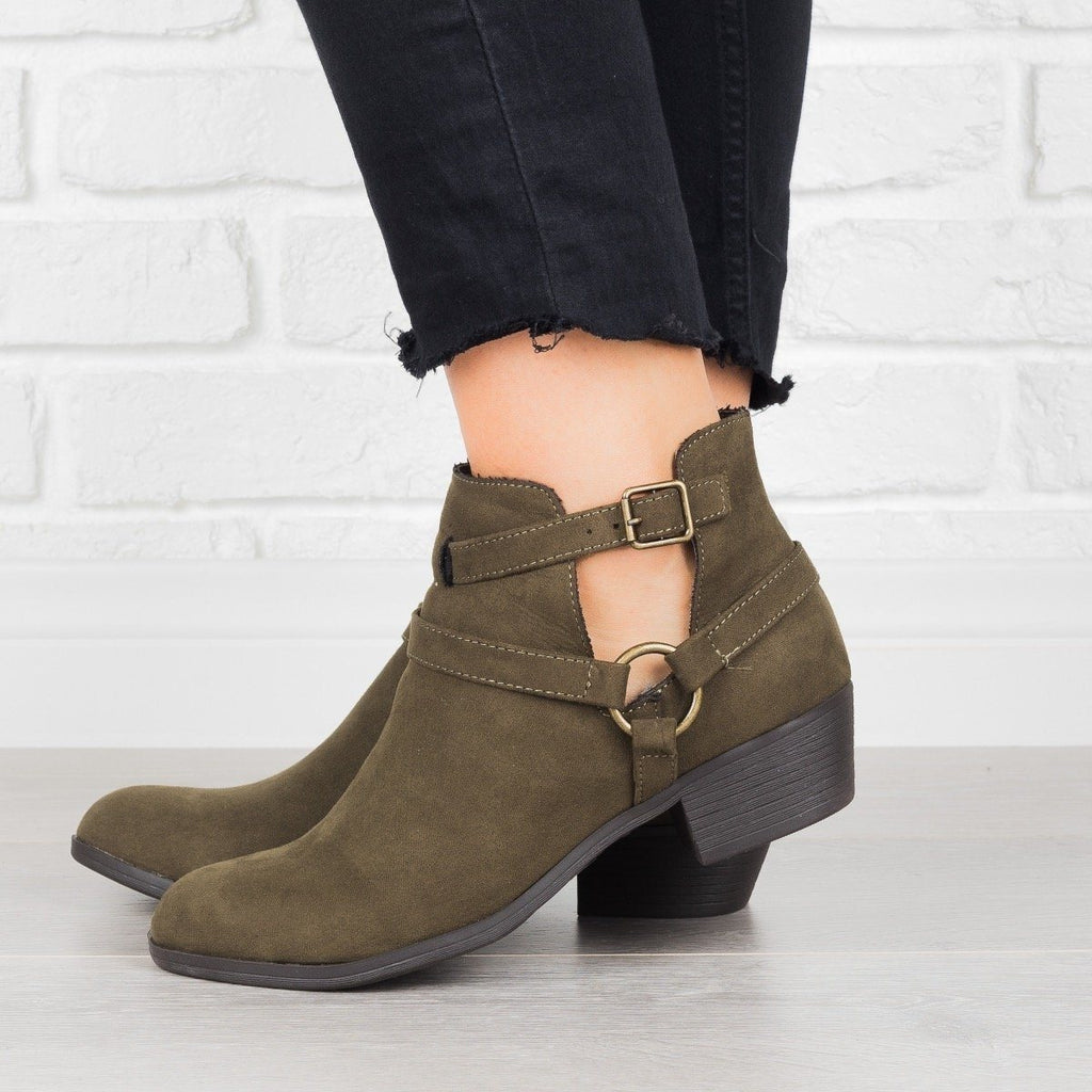 Womens Cut-Out Buckled Booties - Shoelala - Olive / 6.5