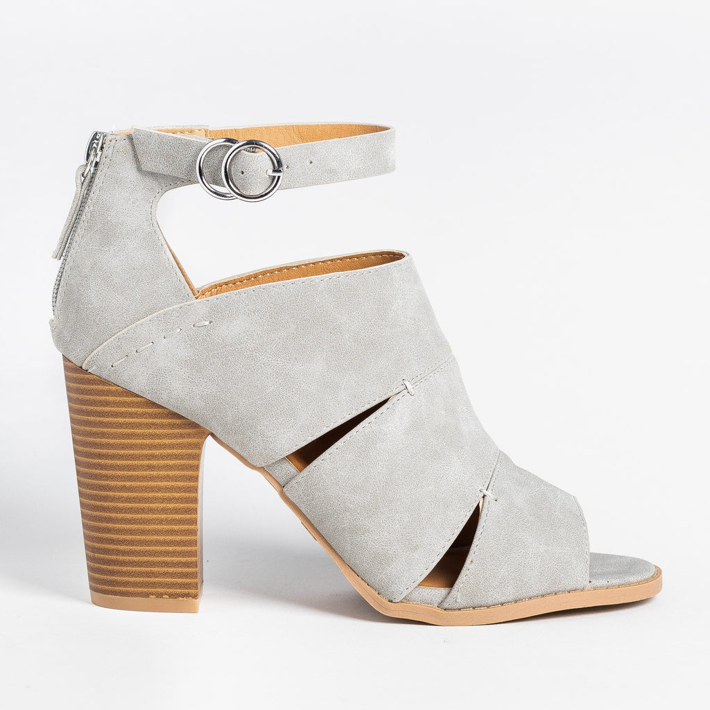 Womens Cut-Out Fashionista Booties - Qupid Shoes - Gray / 5
