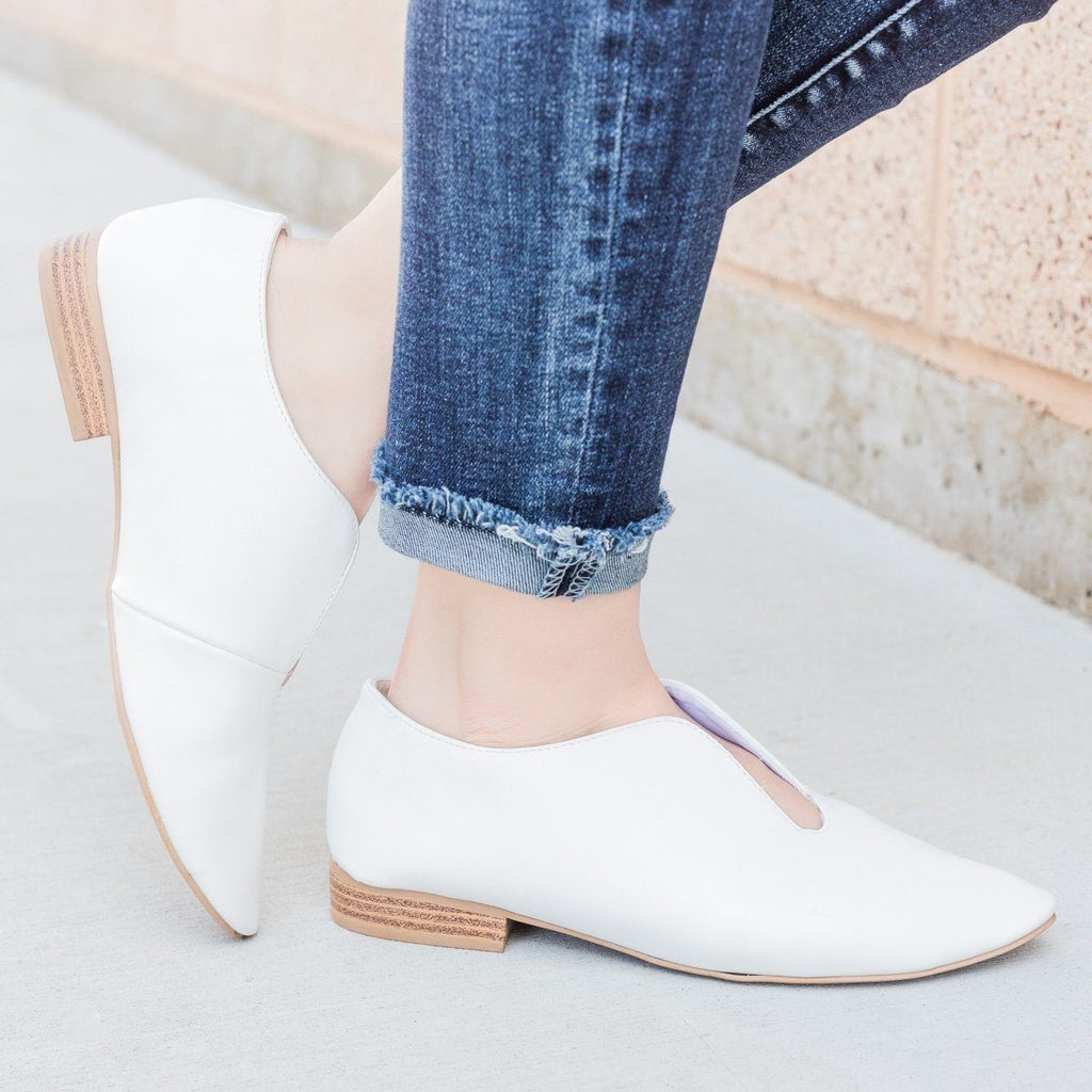 Womens Cut Out Flats - Qupid Shoes