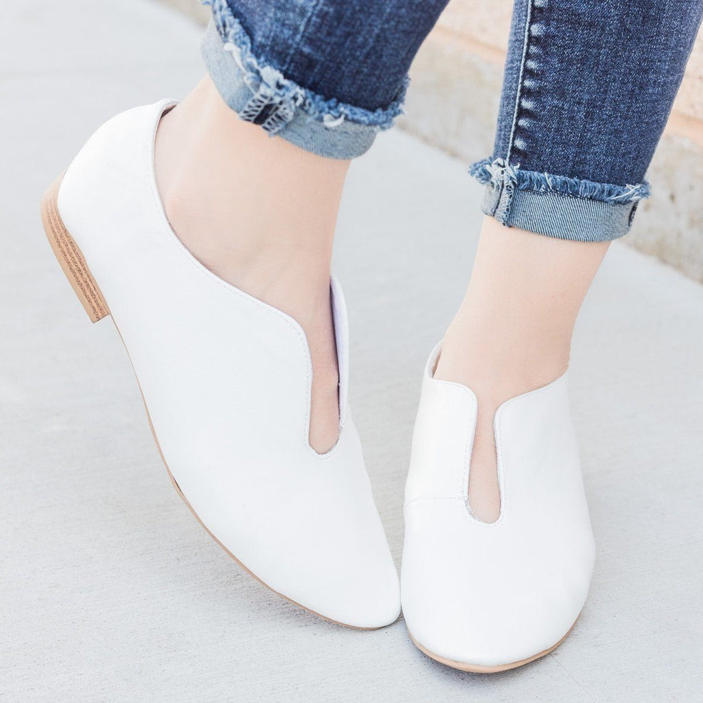 Womens Cut Out Flats - Qupid Shoes - White / 5