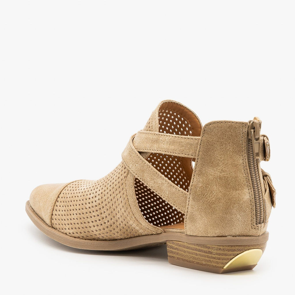 Womens Cut Out Mesh Buckle Booties - Qupid Shoes