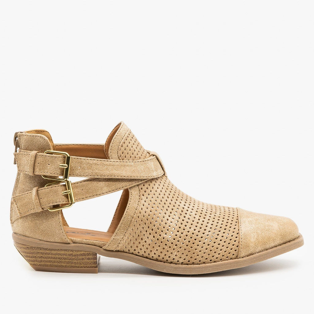 Womens Cut Out Mesh Buckle Booties - Qupid Shoes - Oatmeal / 5