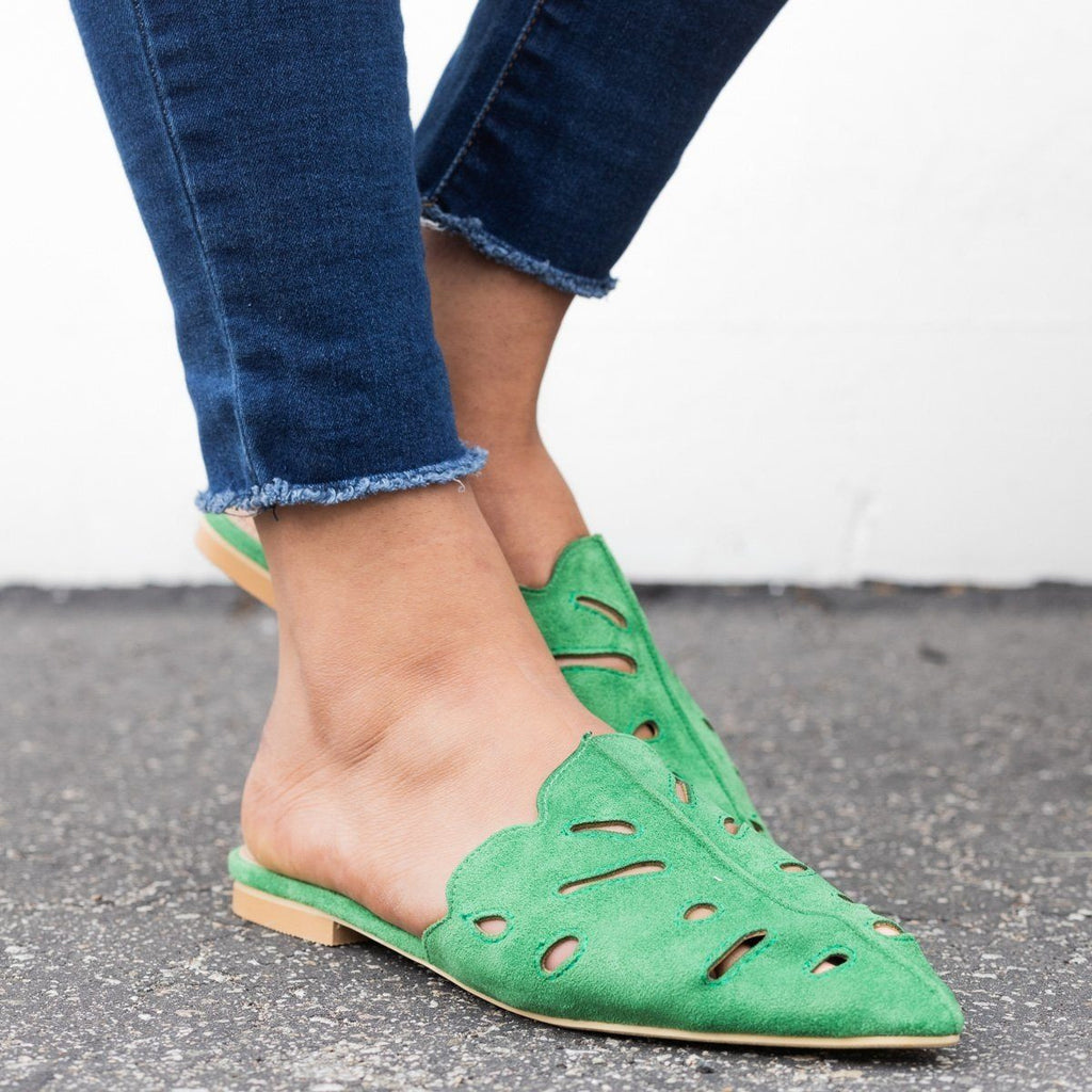 Womens Cut-out Mule Flats - Beast Shoes - Green / 7.5