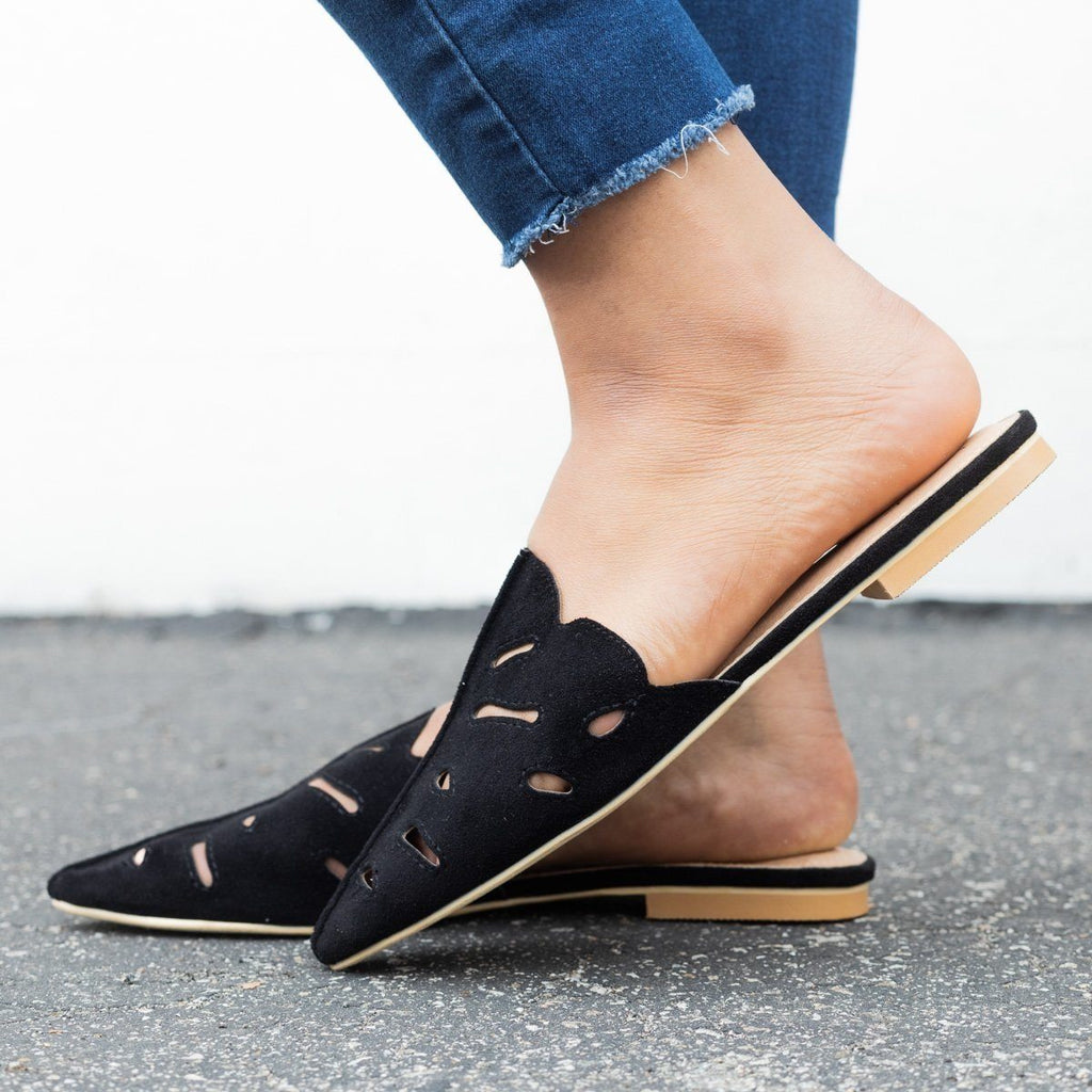 Womens Cut-out Mule Flats - Beast Shoes