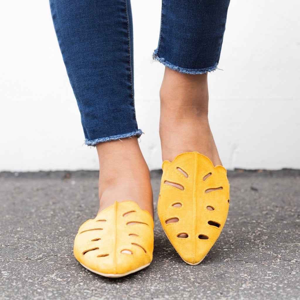 Womens Cut-out Mule Flats - Beast Shoes - Mustard / 5