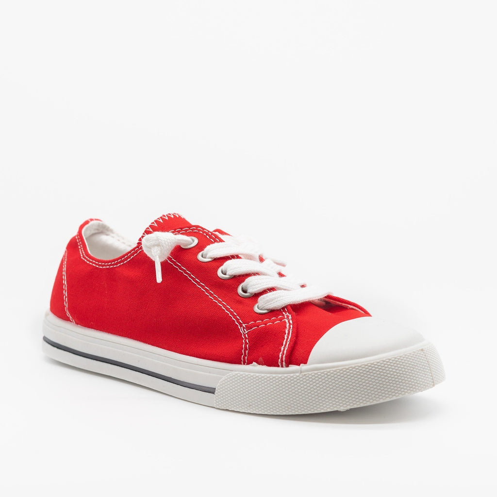 Womens Cute and Sporty Comfort Sneakers - Forever - Red / 5