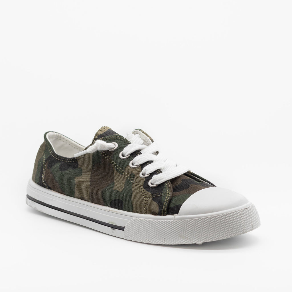 Womens Cute and Sporty Comfort Sneakers - Forever - Camouflage / 5