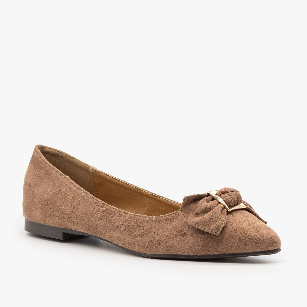 Womens Cute Bow Ballet Flats - Weeboo - Taupe / 5