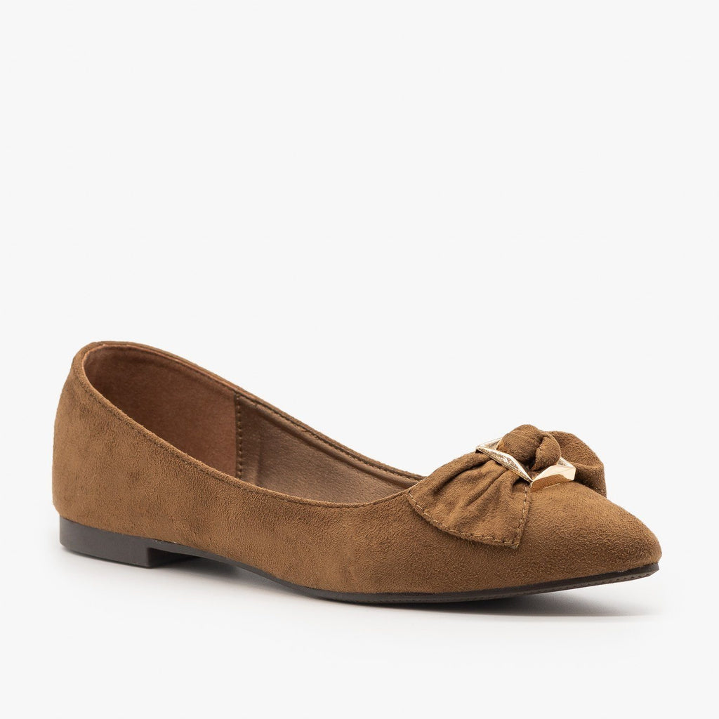 Womens Cute Bow Ballet Flats - Weeboo - Brown / 5