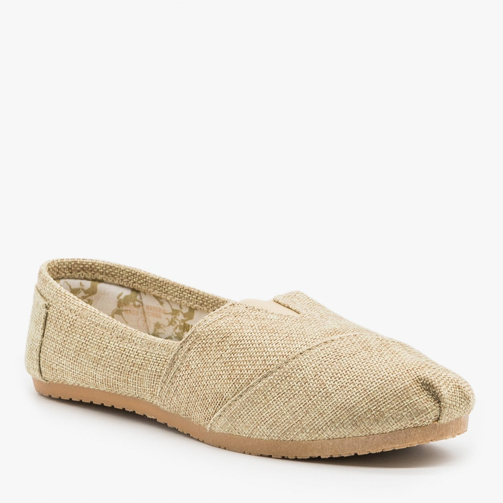 Womens Cute Canvas Slip On Flats - Refresh - Natural / 5