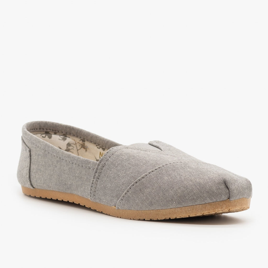 Womens Cute Canvas Slip On Flats - Refresh - Ash Gray / 5