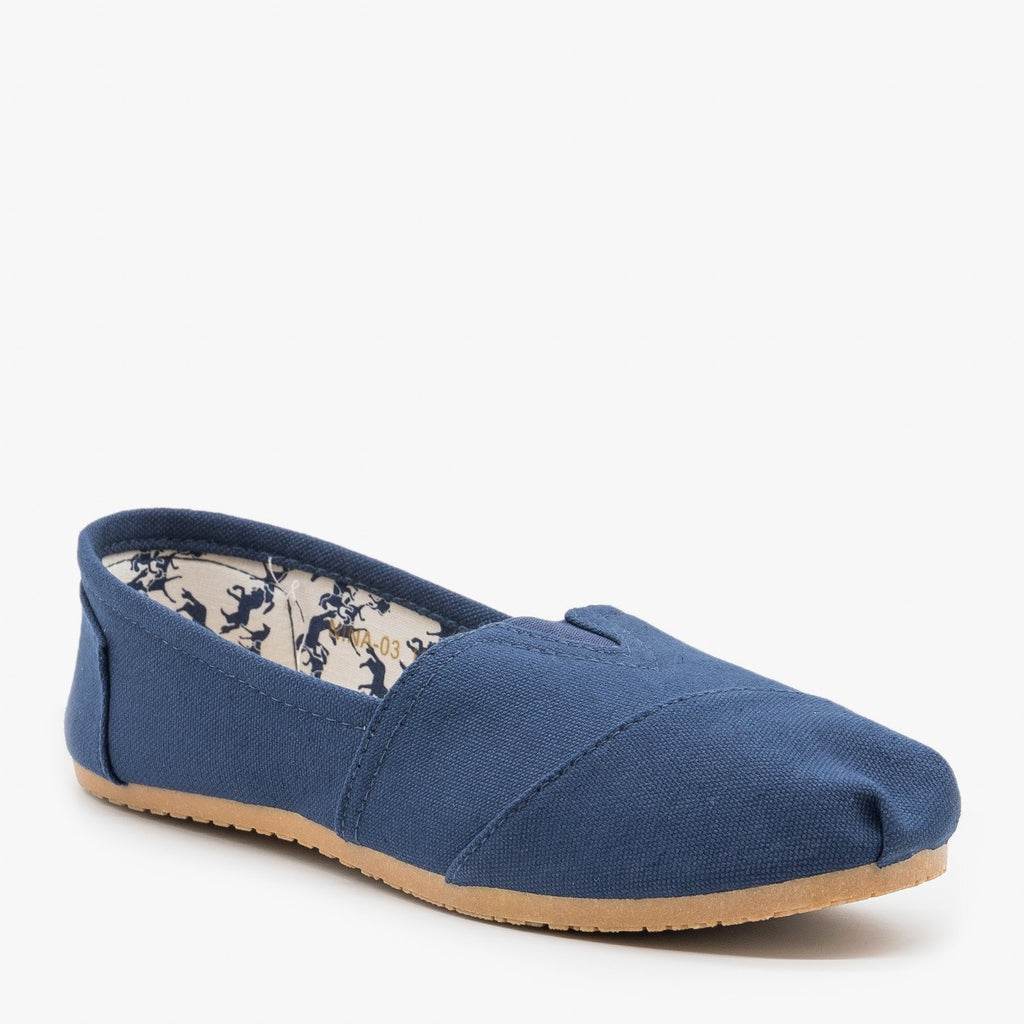 Womens Cute Canvas Slip On Flats - Refresh - Navy / 5