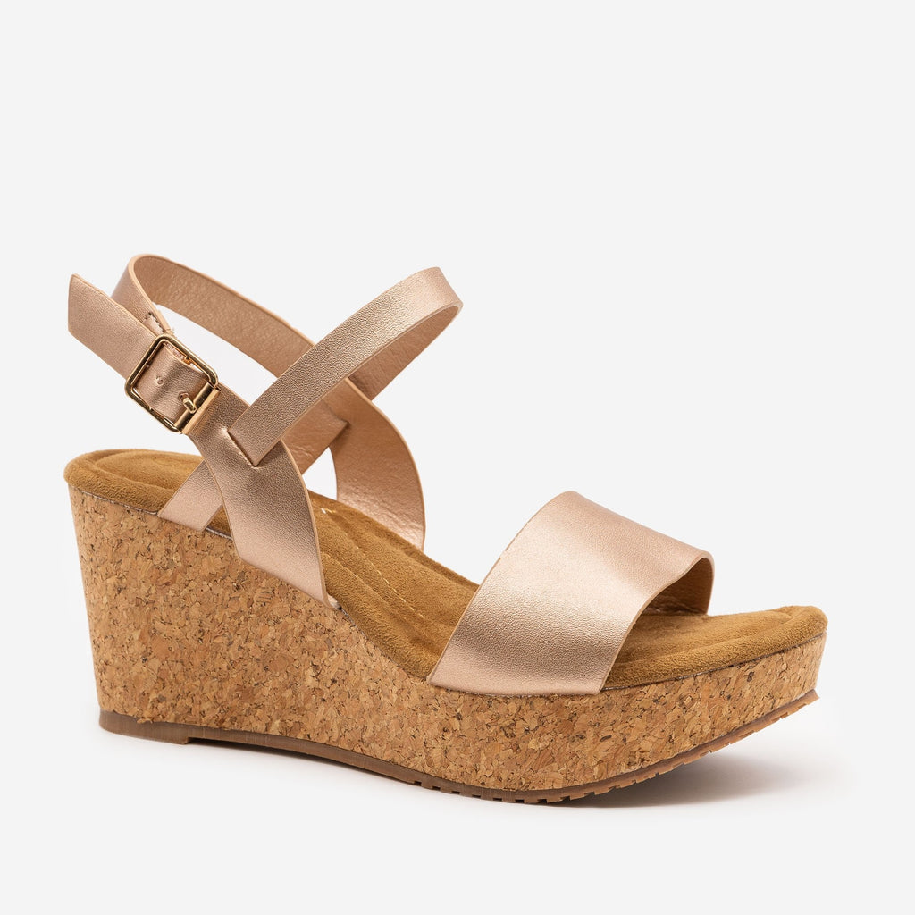 Women's Cute Cork Summer Wedges - Anna Shoes