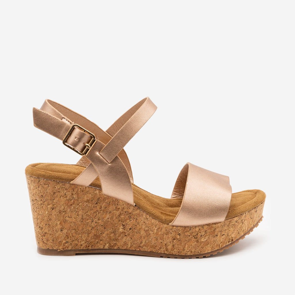 Women's Cute Cork Summer Wedges - Anna Shoes - Rose Gold / 5