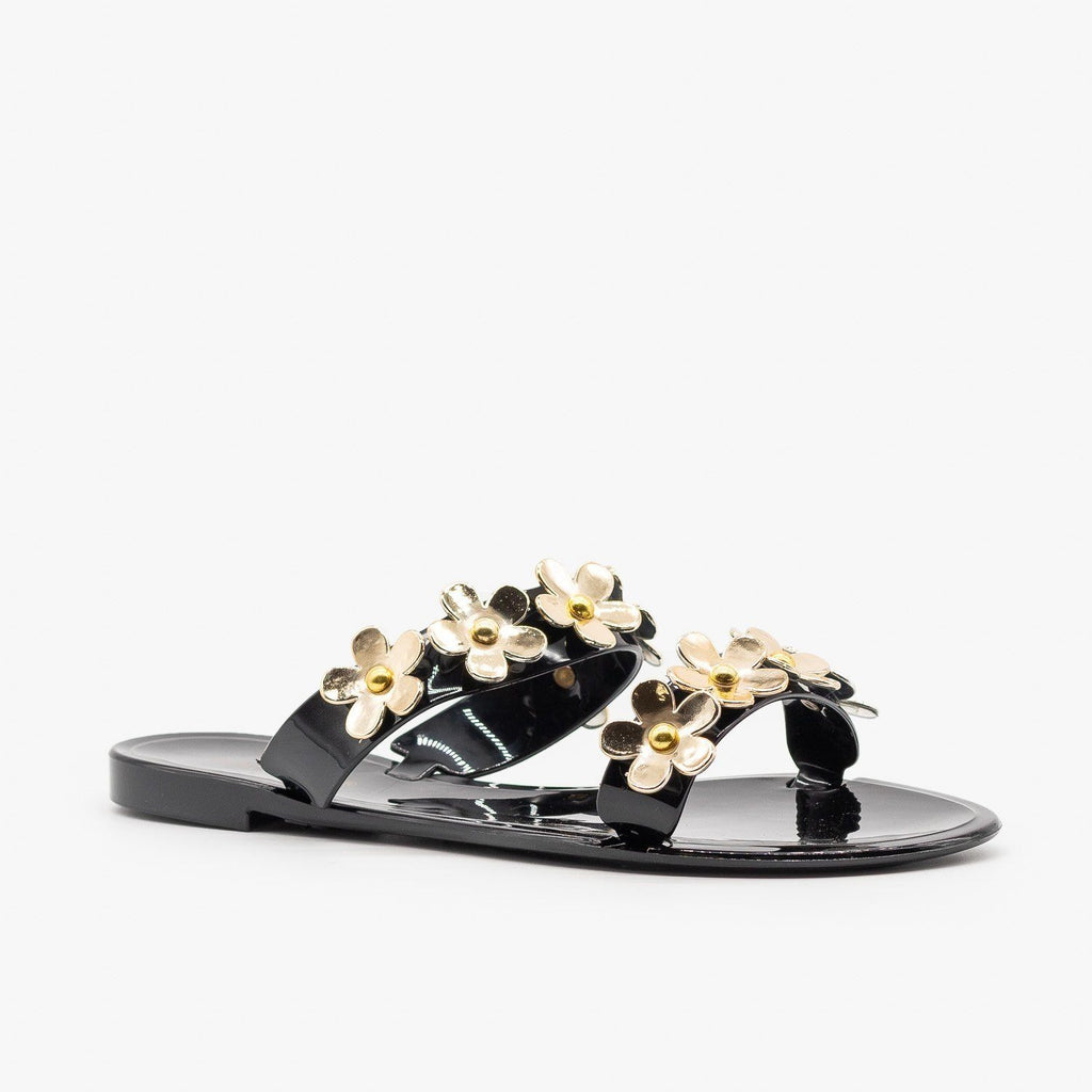 Womens Cute Flower Jelly Slides - Bamboo Shoes - Black / 5
