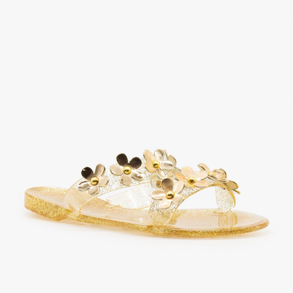Womens Cute Flower Jelly Slides - Bamboo Shoes - Gold / 5