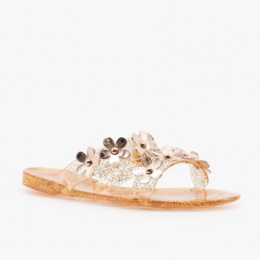 Womens Cute Flower Jelly Slides - Bamboo Shoes - Bronze / 5