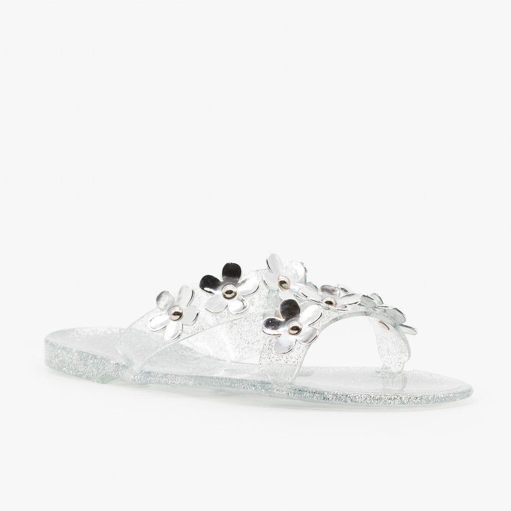 Womens Cute Flower Jelly Slides - Bamboo Shoes - Silver / 5