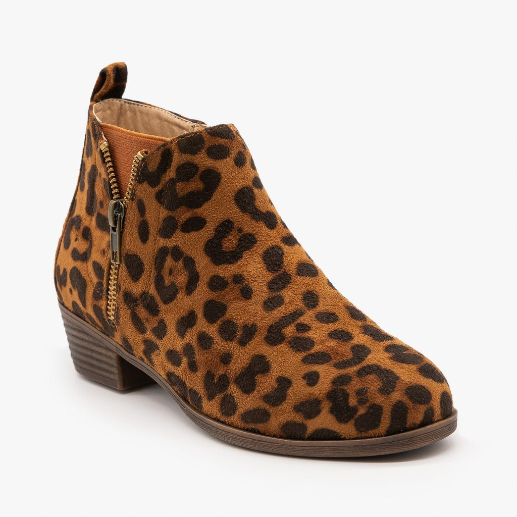 Womens Cute Leopard Print Ankle Booties - Bamboo Shoes - Leopard / 5