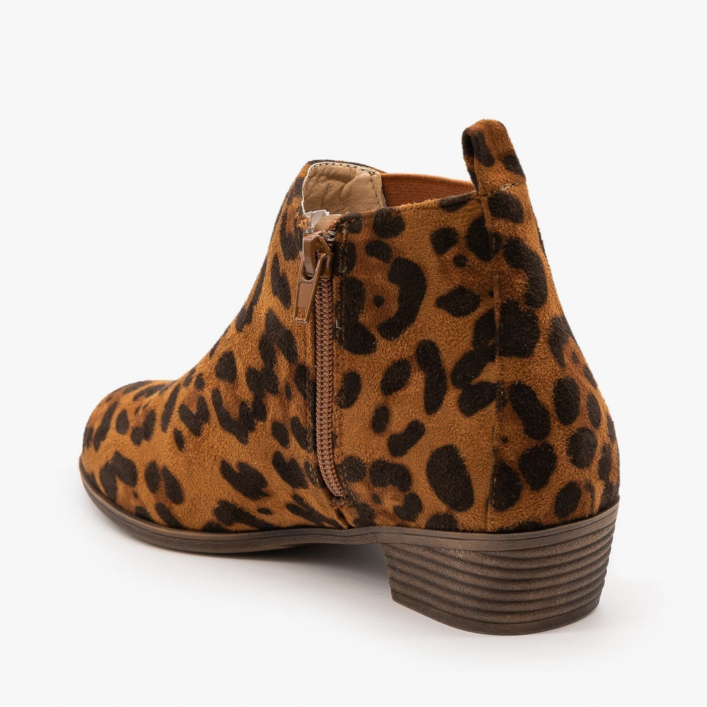Womens Cute Leopard Print Ankle Booties - Bamboo Shoes