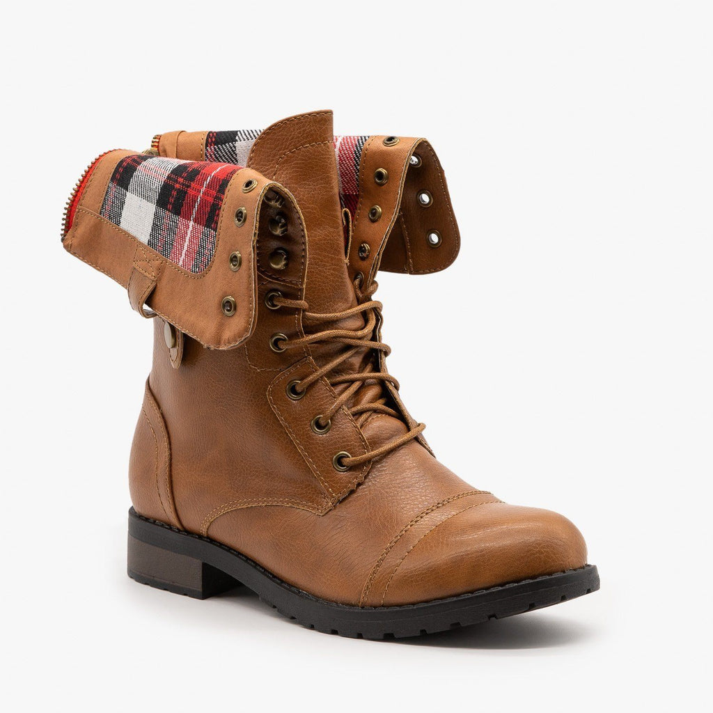 Womens Cute Plaid Cuff Combat Boots - Refresh - Camel / 5