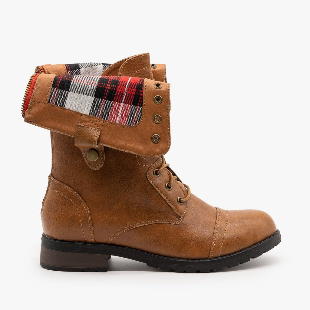 Womens Cute Plaid Cuff Combat Boots - Refresh